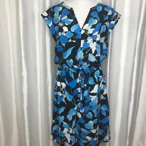Eshakti Dress XL Sheath Drawstring Waist Blue Leaf
